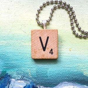 """1953 """"V"""" Scrabble® Tile Initial Pendant Necklace"""